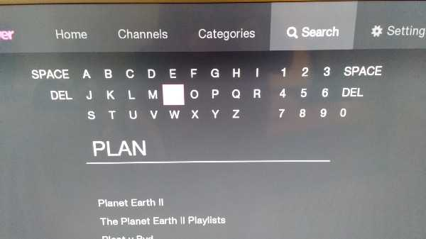 On screen keyboard for BBC iPlayer